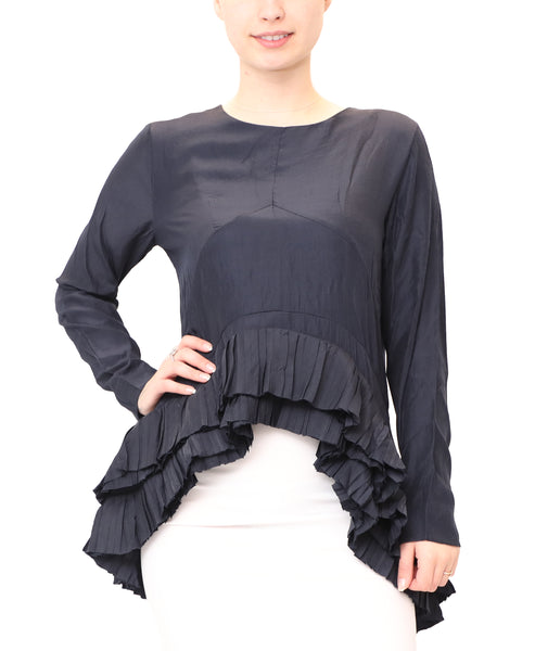 Hi-Lo Blouse w/ Pleated Bottom