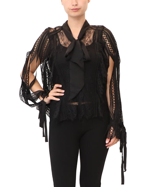 Lace & Crochet Blouse w/ Tank- 2 Pc. Set