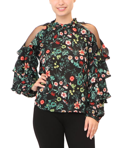 Floral Print Ruffle Blouse
