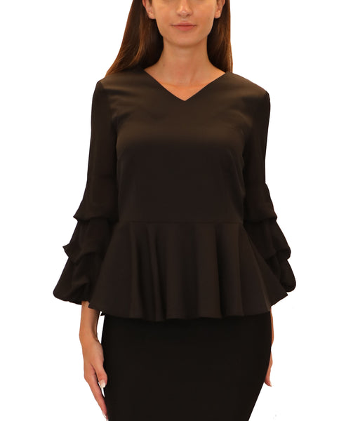 Peplum Blouse w/ Ruched Sleeves
