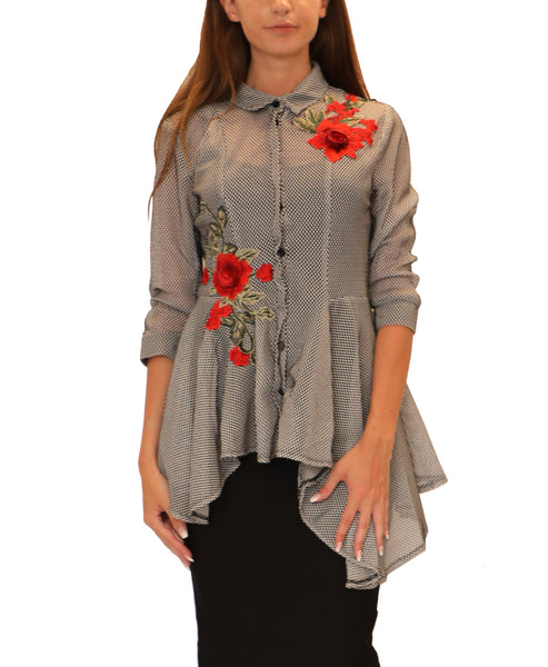 Asymmetrical Top w/ Floral Applique
