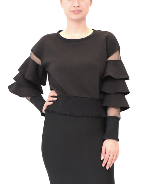 Scuba Top w/ Tiered Ruffle Sleeves