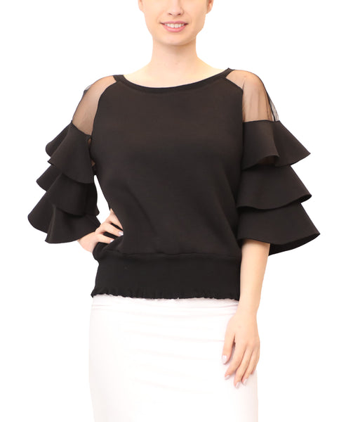 Scuba Tiered Ruffle Top