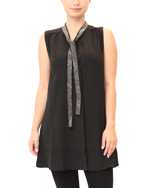 Blouse w/ Crystal Neck Tie