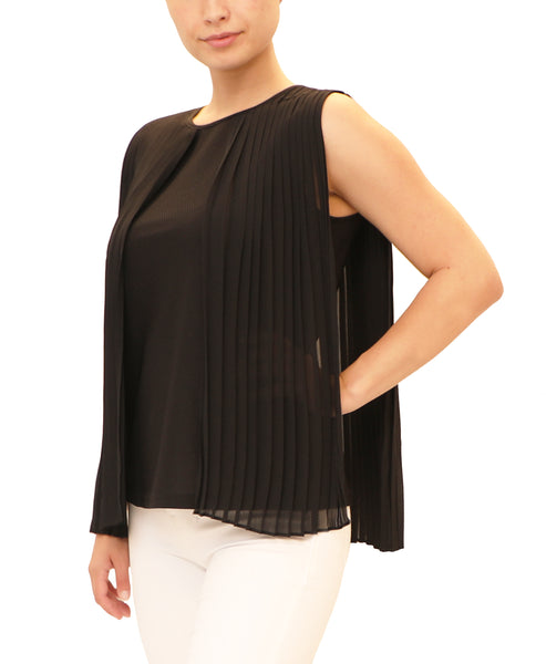 Blouse w/ Pleated Overlay