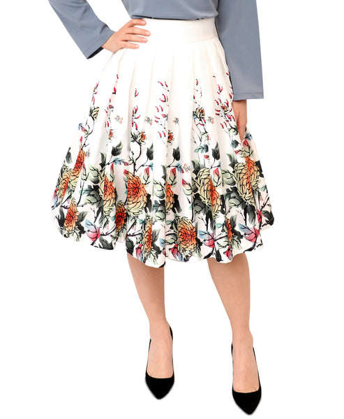 Fit & Flare Floral Print Skirt