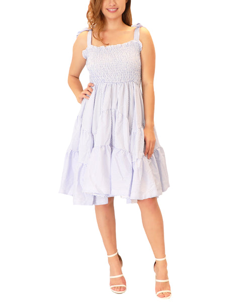 Pinstripe Tiered Dress