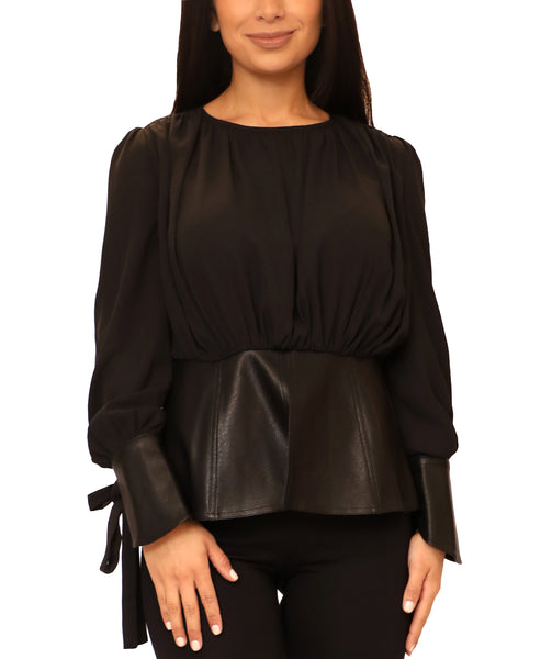 Zoom view for Blouse w/ Faux Leather Peplum