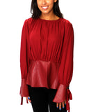 Blouse w/ Faux Leather Peplum