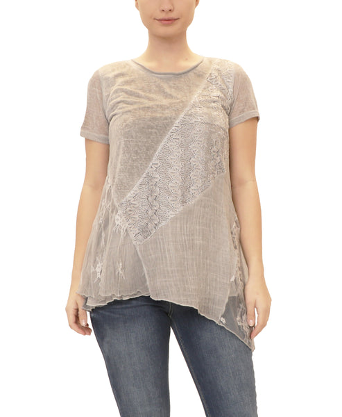 Mixed Media Asymmetrical Hem Top