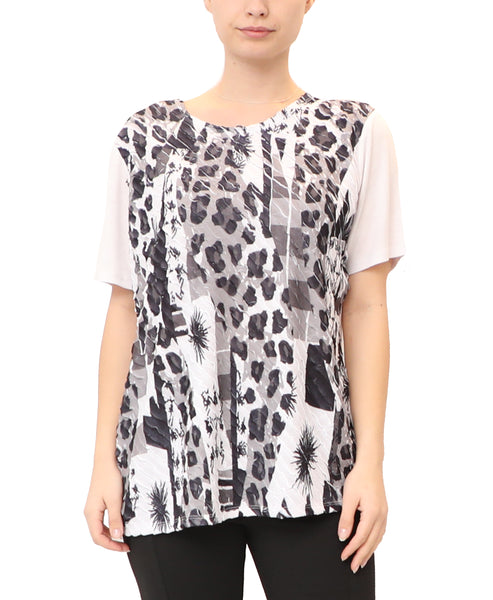 Printed Asymmetrical Ruffle Top