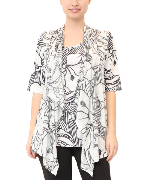 Floral Draped Front Tunic Top w/ Crystals