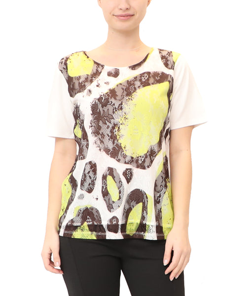 Printed Mesh Lace Top