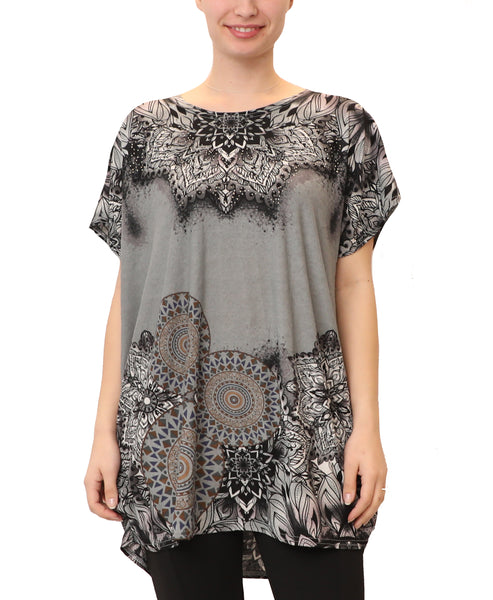 Mandala Print Tunic Top w/ Crystals