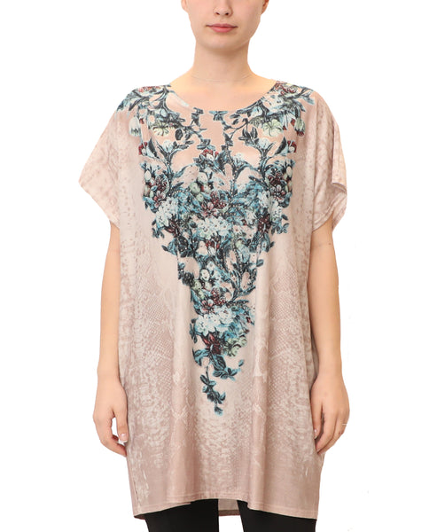 Floral & Snake Print Tunic Top w/ Crystals