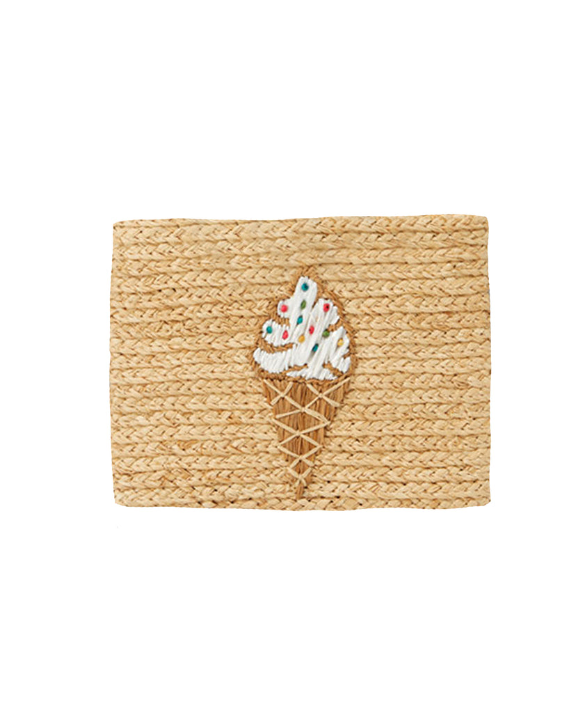 Whimsical Raffia Clutch Bag