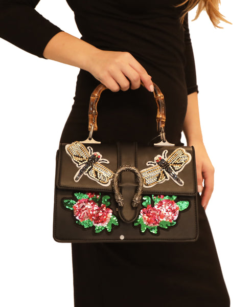 Handbag w/ Embellished Patches