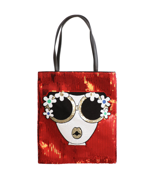 """Face"" Sequin Tote Bag"