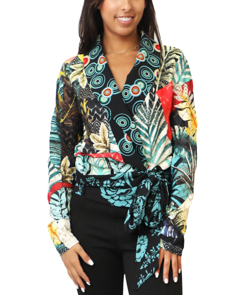 Zoom view for Printed Wrap Blouse