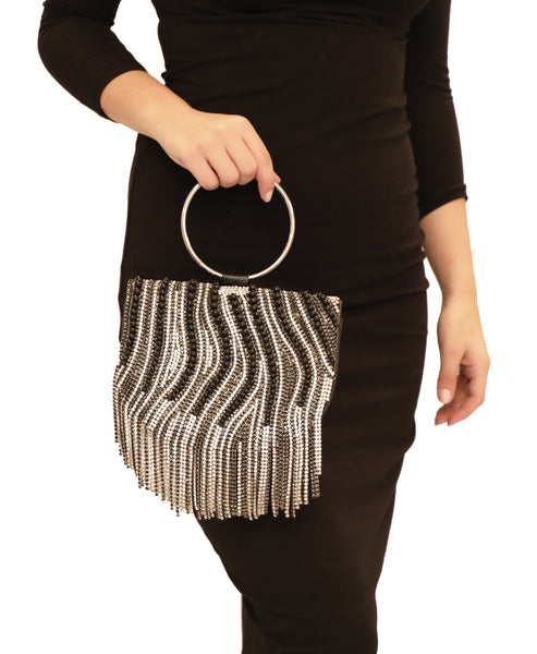 Rhinestone & Pearl Beaded Evening Bag