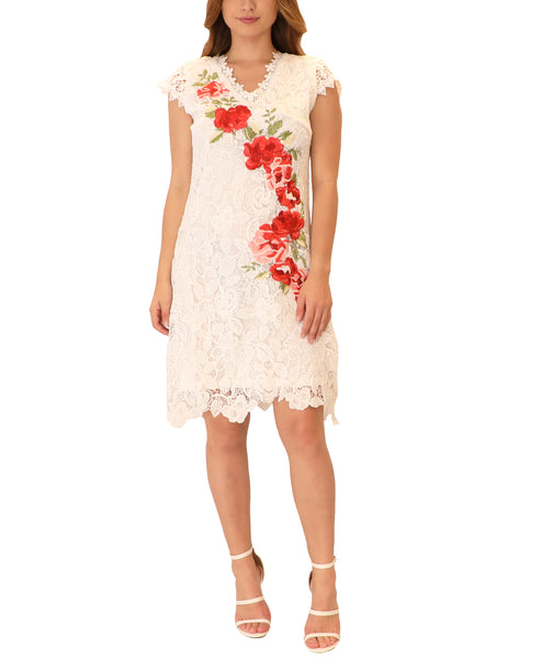 Lace Shift Dress w/ Embroidered Roses