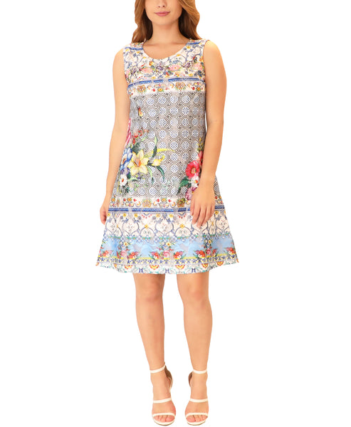Floral & Geometric Print Shift Dress