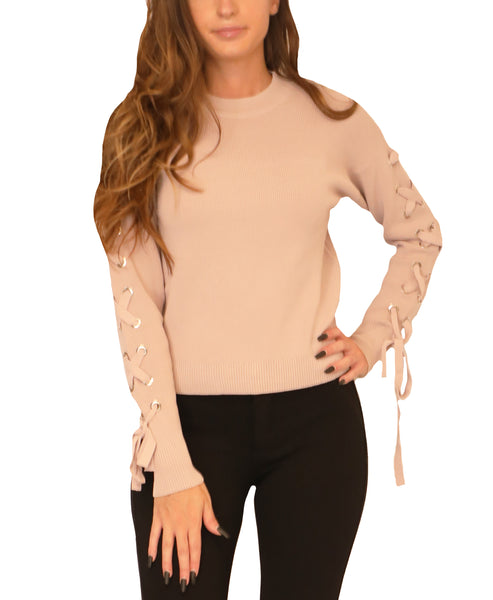 Sweater w/ Lace Up Sleeves
