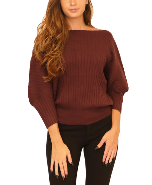 Ribbed Sweater w/ Dolman Sleeves - Fox's