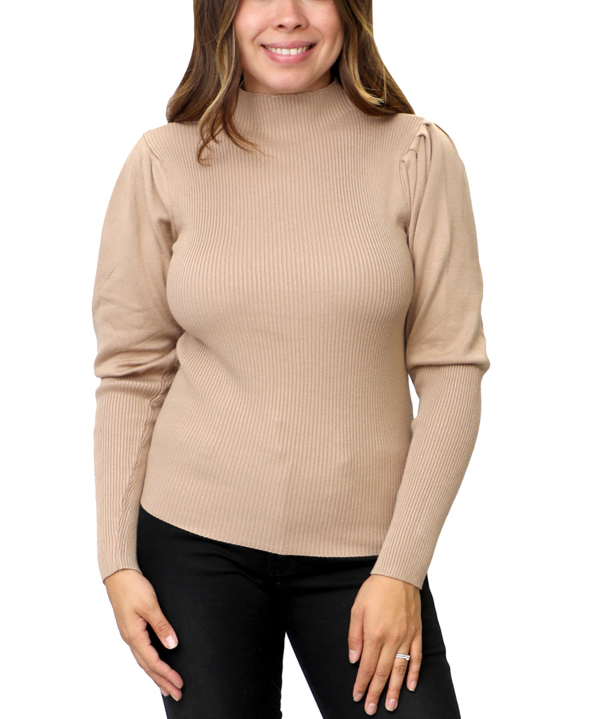 Knit Ribbed Sweater w/ Puff Sleeves
