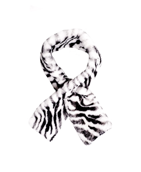 Zoom view for Faux Fur Zebra Print Pull Through Scarf