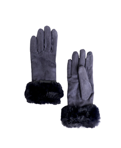 Zoom view for Faux Suede Gloves w/ Faux Fur Trim A