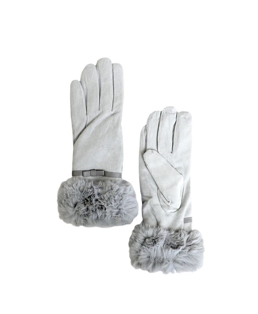 Faux Suede Gloves w/ Faux Fur Trim