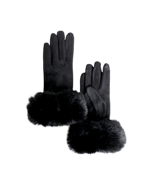 Zoom view for Faux Suede Gloves w/ Faux Fur Cuff