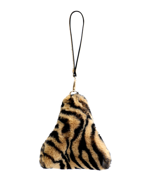 Zoom view for Tiger Print Faux Fur Pyramid Bag
