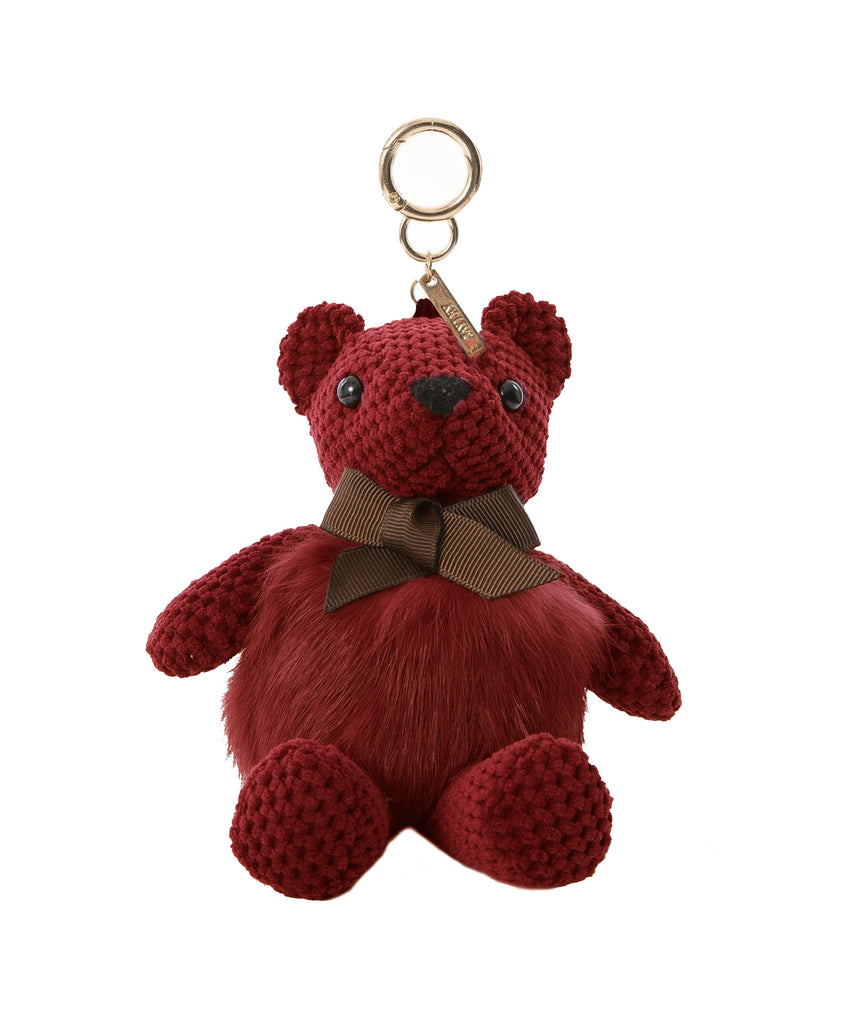Chenille & Rabbit Fur Bear Keychain/Bag Charm