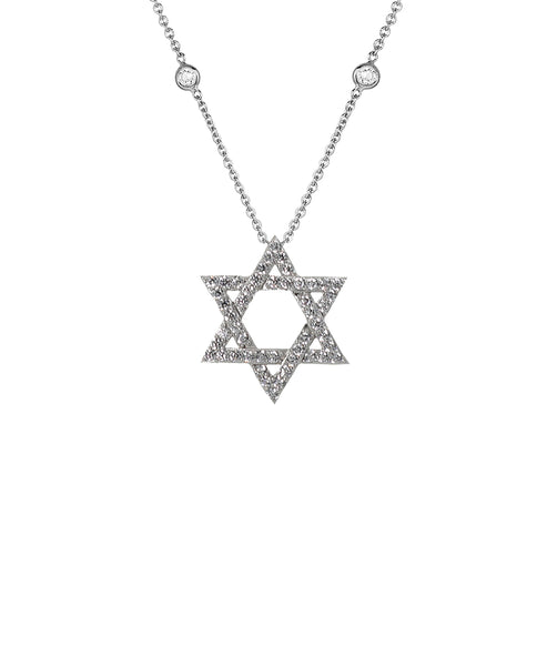 "Zoom view for ""Star of David"" Necklace w/ CZ's By The Yard"