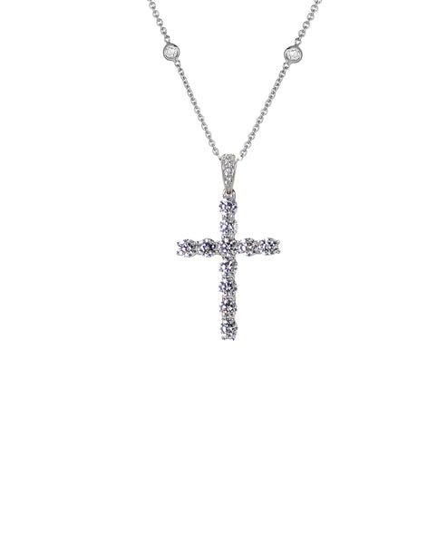 "Zoom view for ""Cross"" Necklace w/ CZ's By The Yard"