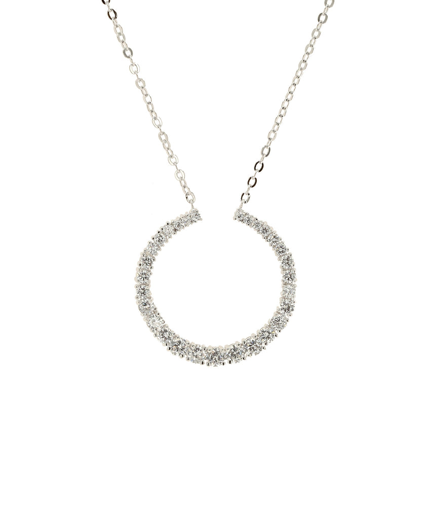 Crescent Moon CZ Necklace - Fox's