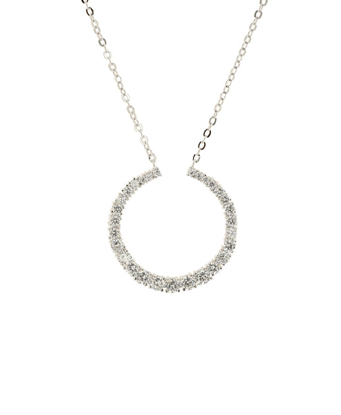 Zoom view for Crescent Moon CZ Necklace
