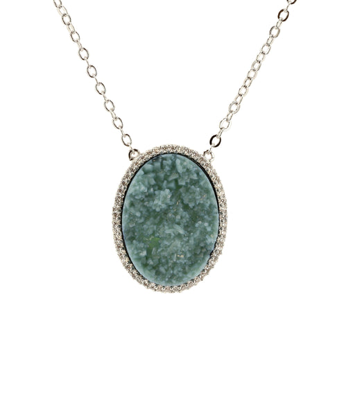 Zoom view for Textured Stone w/ CZ Bezel Necklace