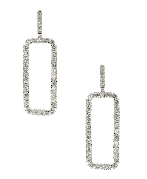 Zoom view for CZ Rectangular Drop Earrings