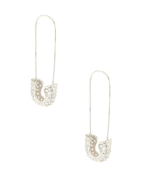 "Zoom view for CZ ""Safety Pin"" Earrings"