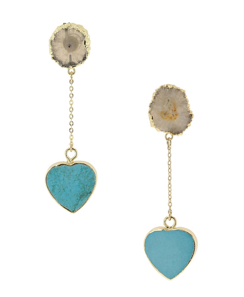 Zoom view for Turquoise Heart Drop Earrings