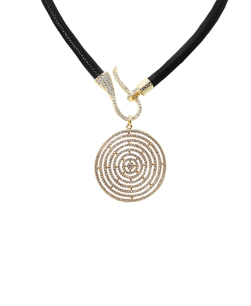 Zoom view for Textured Cord Necklace w/ CZ Disc ONLINE EXCLUSIVE