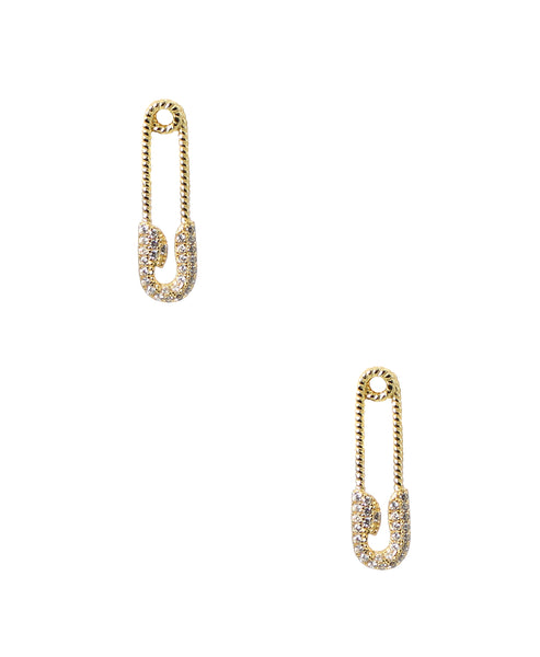Zoom view for Safety Pin CZ Earrings
