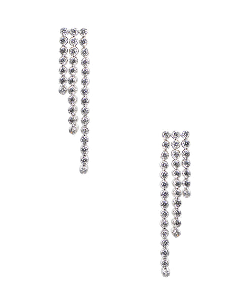 Zoom view for Tiered Linear Drop CZ Earrings