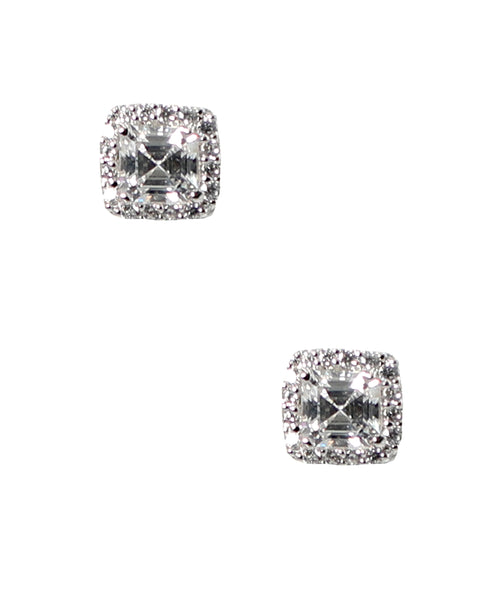 Zoom view for Emerald Cut Cubic Zirconia Halo Stud Earrings ONLINE EXCLUSIVE
