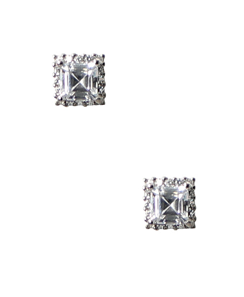 Zoom view for Emerald Cut CZ Halo Stud Earrings ONLINE EXCLUSIVE