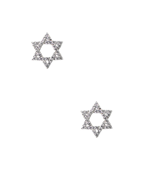 "Zoom view for ""Star of David"" CZ Earrings"