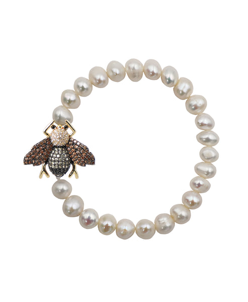 Fresh Water Pearl Stretch Bracelet w/ Bee - Fox's